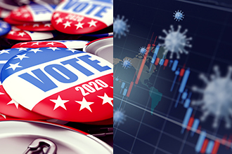 Political badges and economic outlook graph