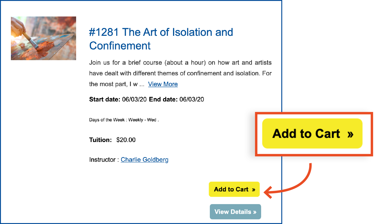 Select desired classes by clicking on the Add to Cart button