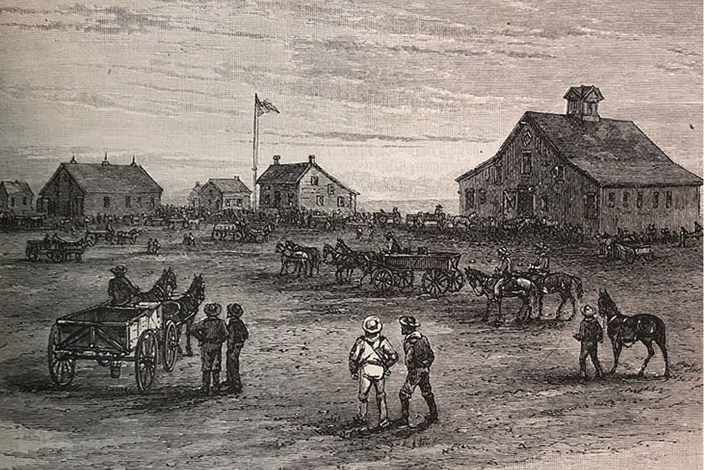 Depiction of a small American rural town circa early 1800s